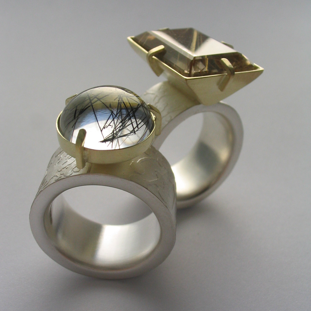 Rutilated quartz and tourmaline etched silver and gold rings