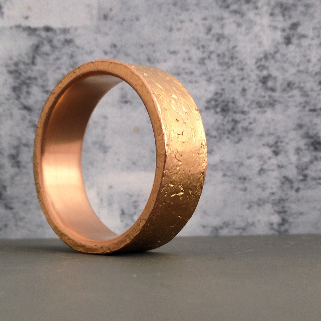 Etched textural ring.