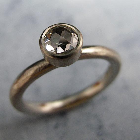 Rose cut diamond engagement ring.