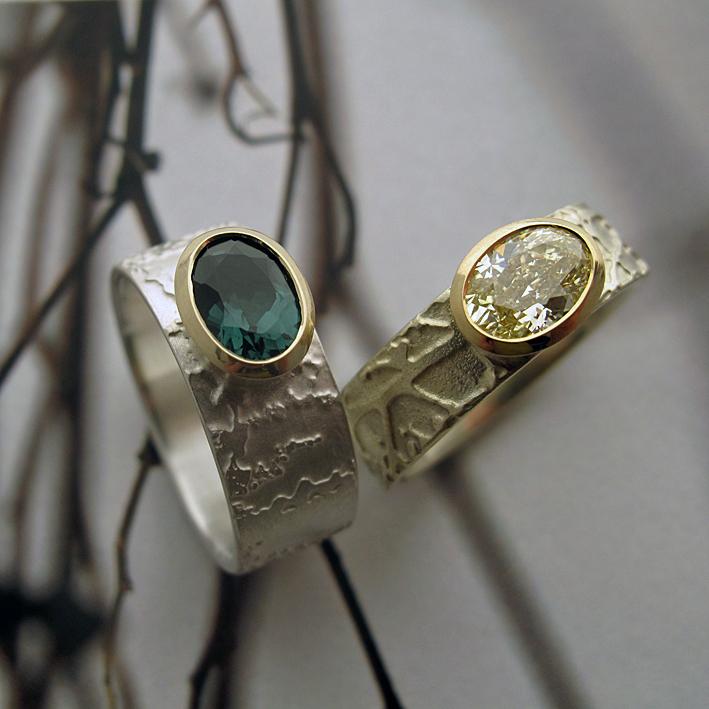Bespoke gemstone etched rings.