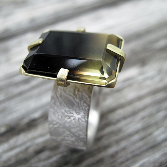 bi colour quartz 18ct yellow gold gemstone meadow ring bespoke ring commission.jpg