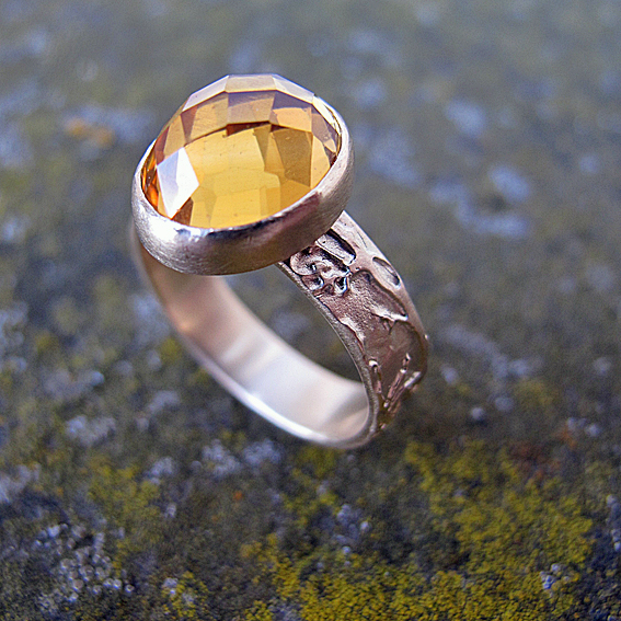 chequerboard citrine rose gold etched ring bespoke commission.jpg