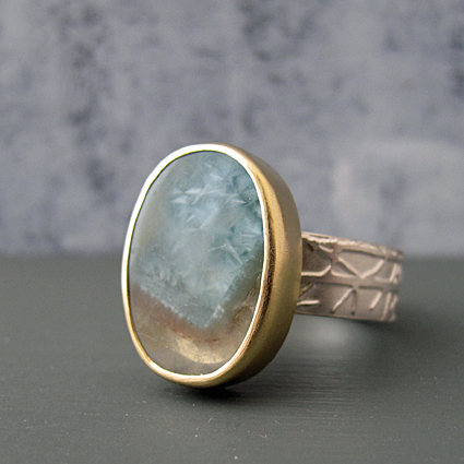 Gilalite in quartz_ 18ct gold etched winter ring bespoke commission winter ring.jpg