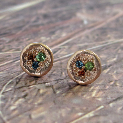 melted gold earrings topaz diamond and tourmaline commission.jpg