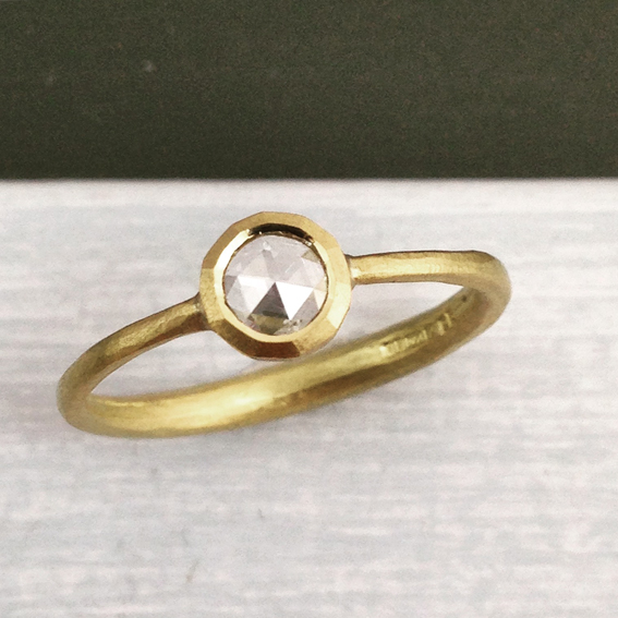 solitaire rosecut diamond ring natural textured 18ct gold .jpg