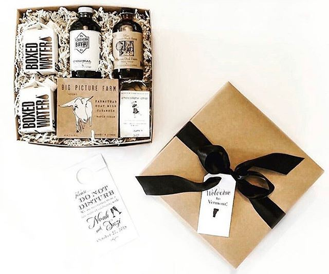 What a beautiful wedding welcome box created by @shelburnegift. We are thrilled to be included! Go check them out for custom gift design for weddings and events in New England! 🖤🎁🥂 📸: @shelburnegift