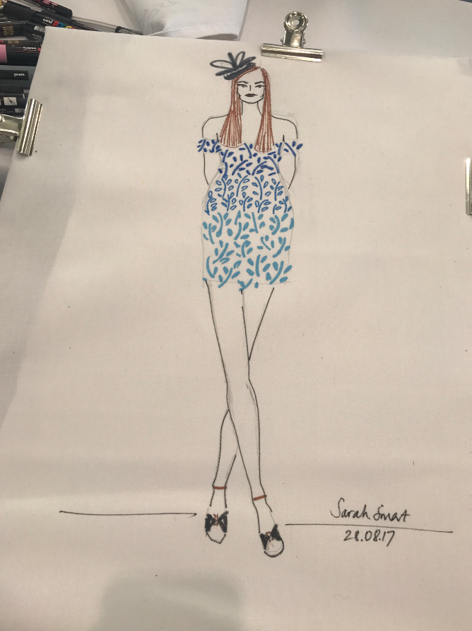 Live fashion illustration at Ascot for Christy Home