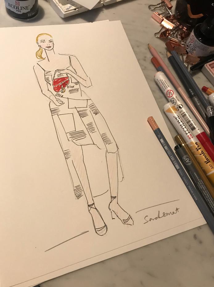 Dior Afternoon Tea Fashion Illustration @ladynadiaessex