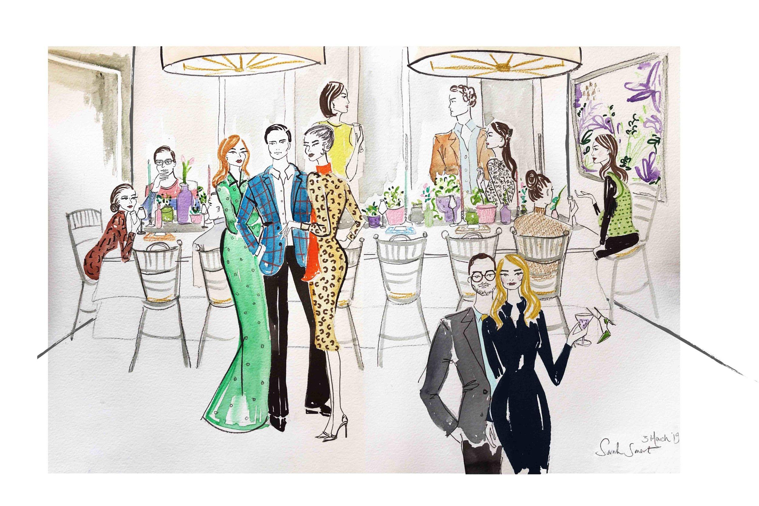 Live Fashion Illustration at The Belmond Cadogan, The final piece