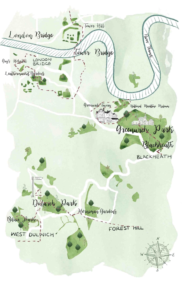 Illustrated map of South London for Aromatherapy Associates