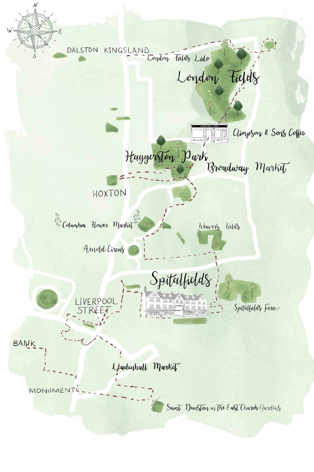 Illustrated map of East London for Aromatherapy Associates