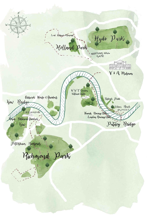 Illustrated map of West London for Aromatherapy Associates