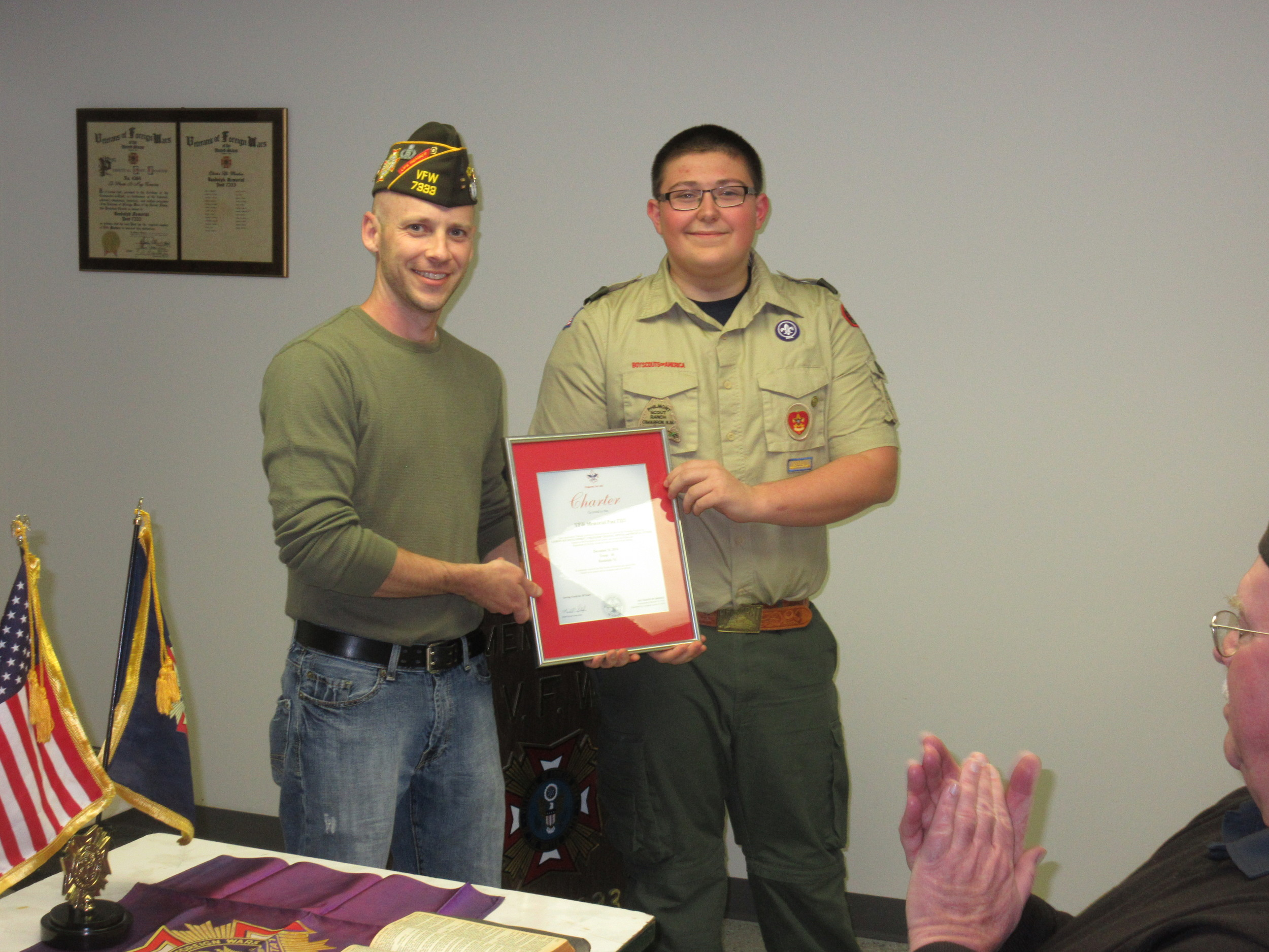 Senior Patrol Leader Joey Celentano  presented the 2016 Boy Scout Troop 50 Charter to VFW Post 7333 Commander Scott Montanio on March 15.  VFW Post 7333 has sponsored Troop 50 for the past 30 years.