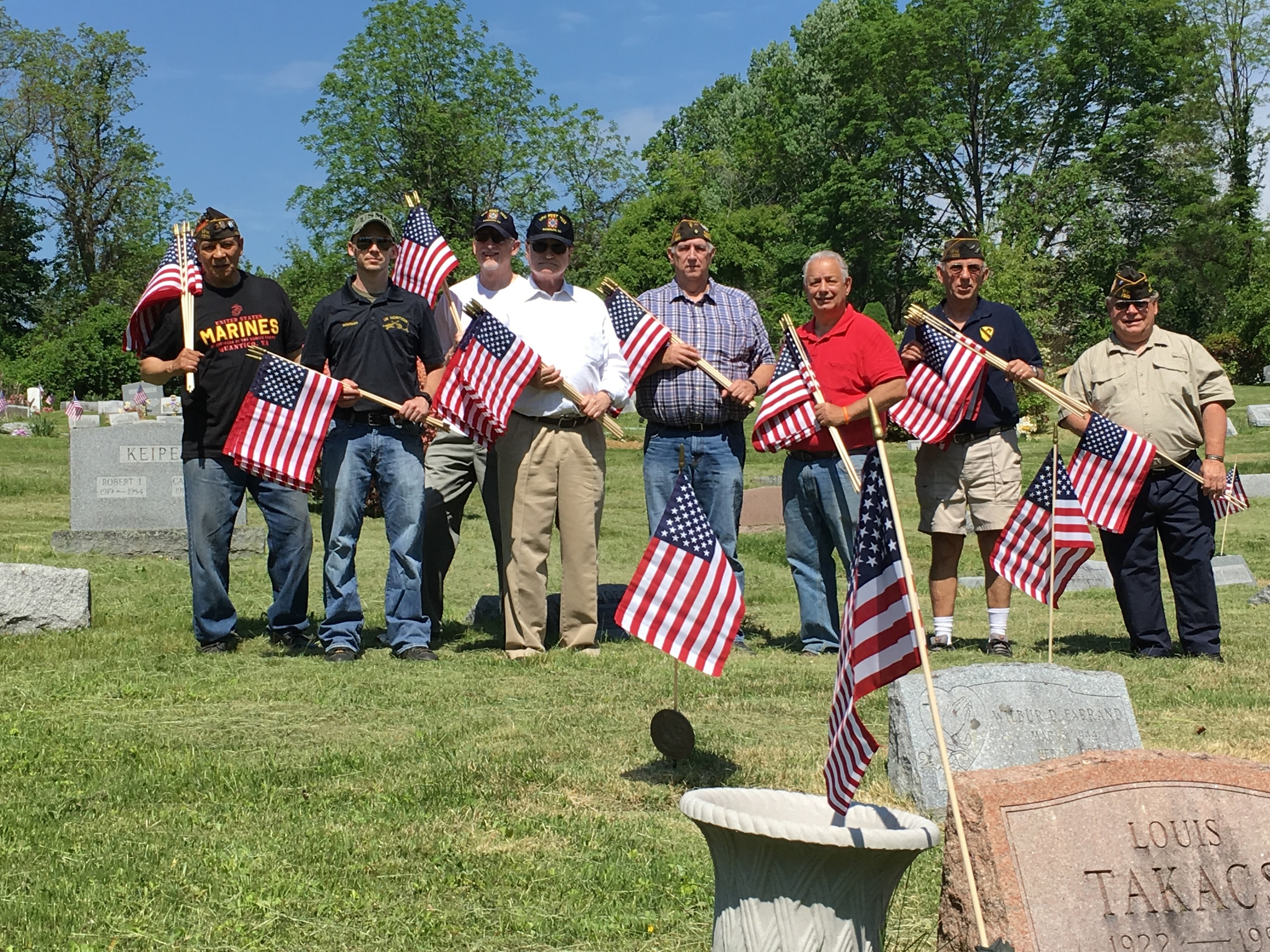 VFW Post 7333 places flags on veteran's graves at six Randolph cemeteries. Participants: Scott Montana - Cmdr, Ted Carman, Bob Brembs, Rich Reck, Dan Gaestel, Bill Menzel, Ken Lareau, Len Labriola, Emerson Crooks, Jack Sassaman