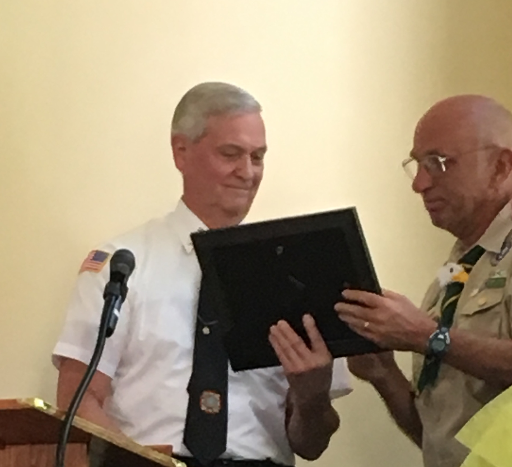 Randolph VFW Post presented Troop 50 Scout Master Ken Lareau with a certificate of recognition for his leadership at the June 18th Eagle Scout Court of Honor. Past Post Commander Jack Sassaman spoke about Mr. Lareau's military service in the Vietnam war and how his many helicopter missions were key to supplying our ground troops saving undocumented lives. Mr. Lareau became involved with scouting because his son became interested in scouting and later became the 3rd Eagle for Troop 50. The certificate commended Mr. Lareau for  having over 100 scouts achieve the rank of Eagle Scout under his leadership. He has been the scout master from the troop's first eagle to the latest #104 over a span of about 30 years.