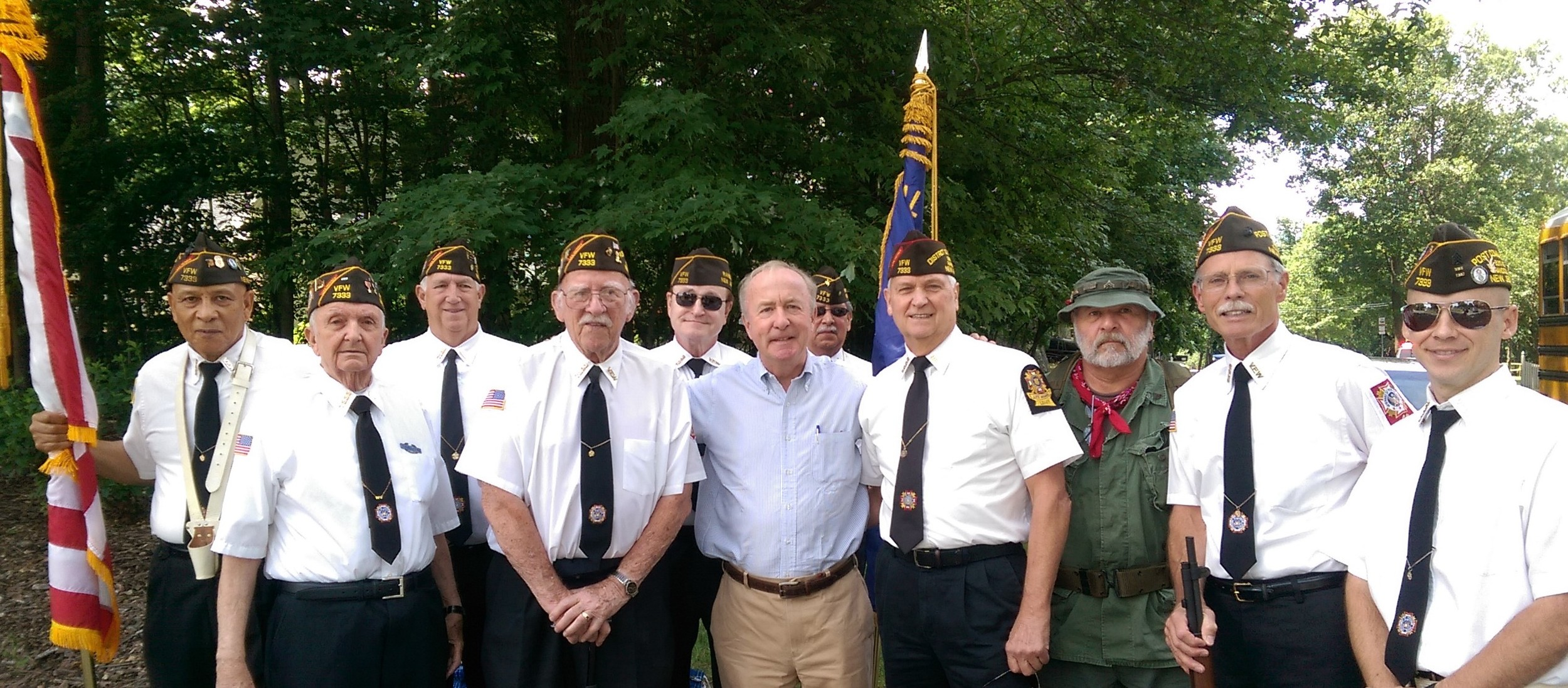 Congressman Rodney Freylinghuysen greets the VFW color guard at the 2016 Randolph Freedom Festival Parade.