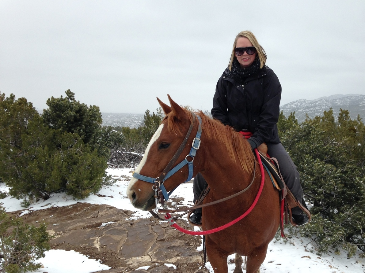 Out riding in the mountains of Santa Fe, NM, April 2014. Check out those snow flakes...
