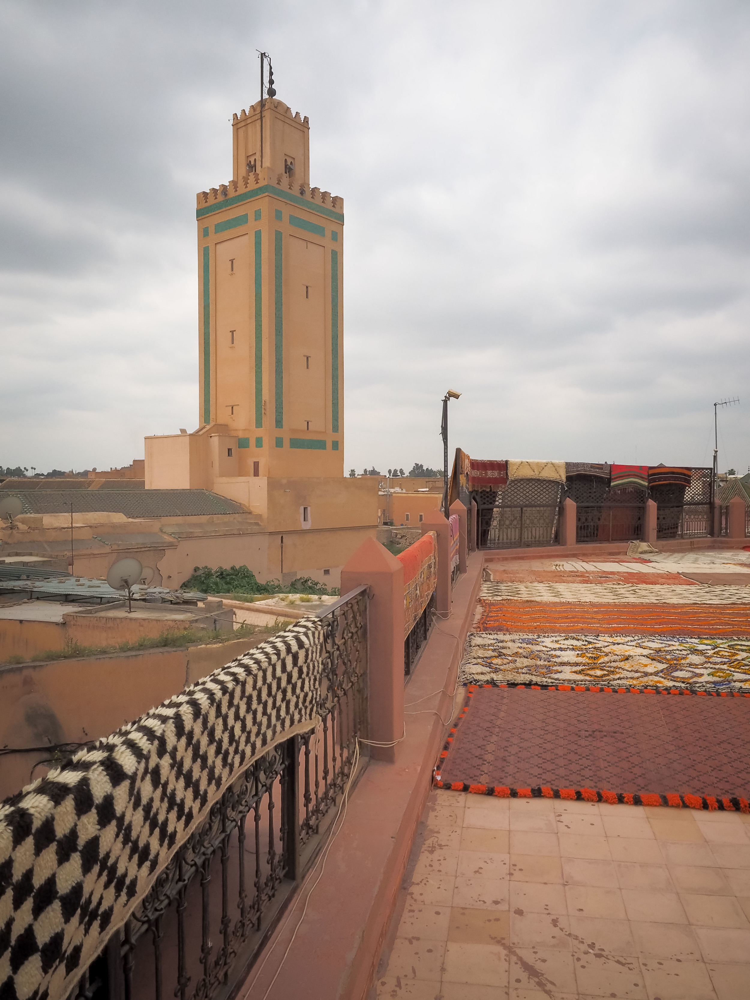View of the Koutoubia Tower fromthe rug shoproof.