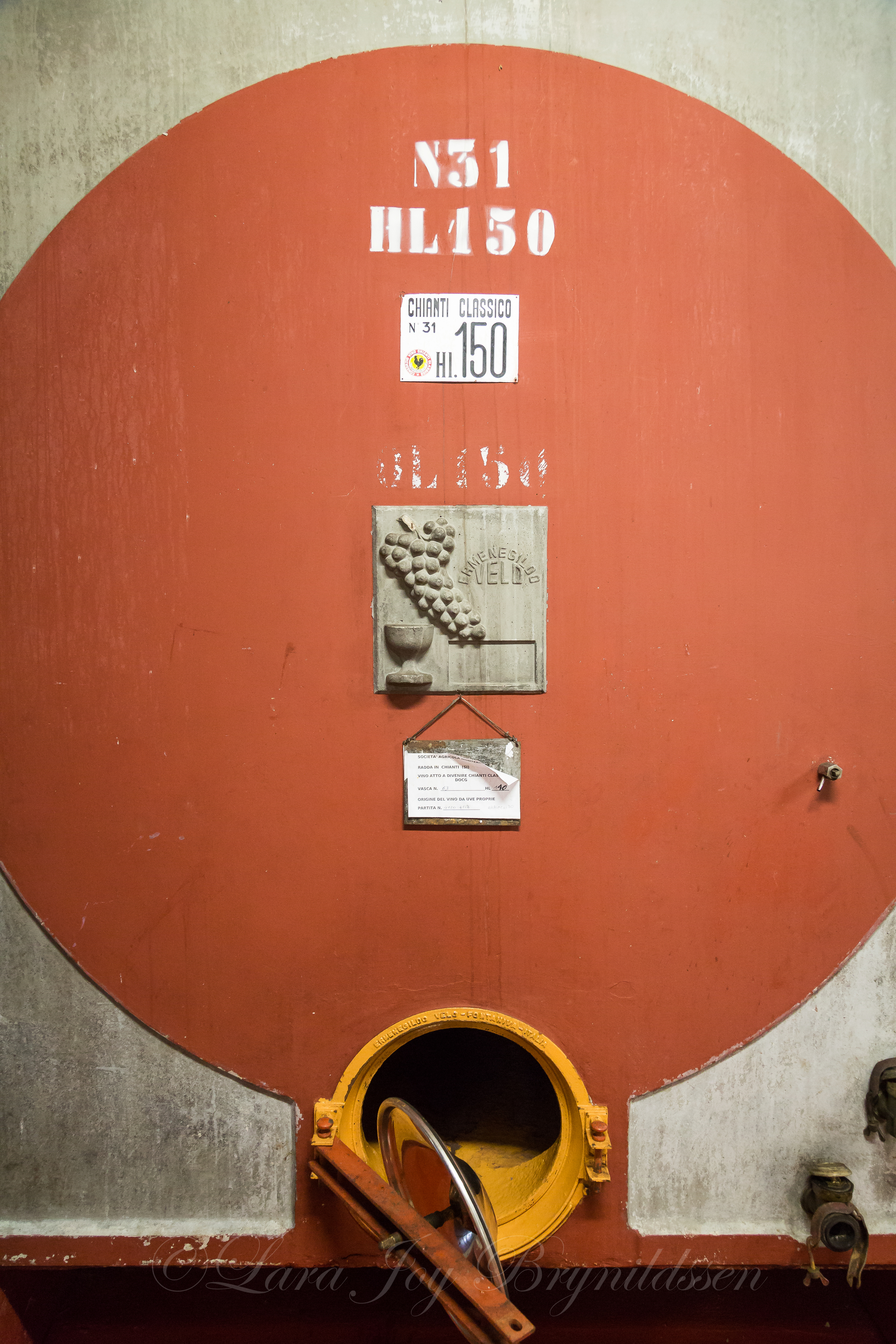 This giant tank was used in one of the initial fermentation processes in the wine.