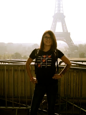 Carolanne in front of the Eiffel Tower in Paris, France in her 'Love Wins' shirt during her vacation with her mother