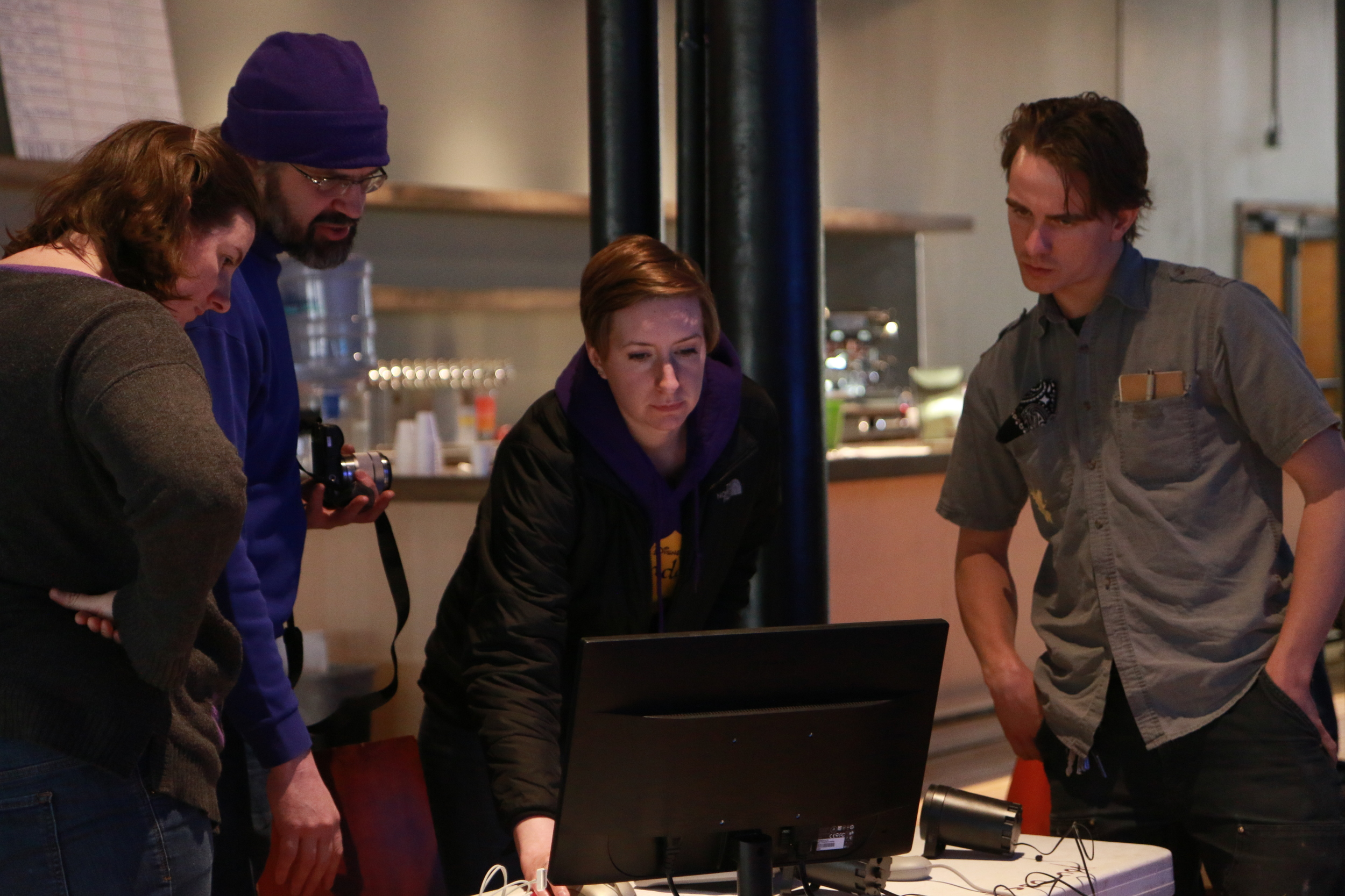Sound Designer & McKnight Fellowship Recipient C. Andrew Mayer (second from the left) teaches QLab 3.