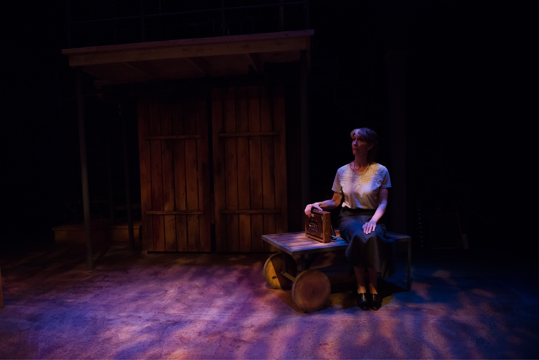 The Storyteller looks on in   The Miraculous Journey of Edward Tulane   at Stages Theater. Pictured: Jennifer Kirkeby. Photo Credit: Megan Engeseth Photography. Conventional Tungsten for highlight with LEDs for color. Lighting Design: Wu Chen Khoo.