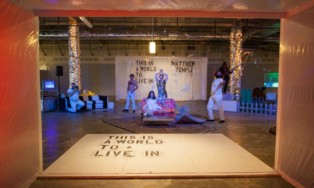 Peter Heeringa, Derek Lee Miller, Heather Stone, Kristina Fjellman, Theo Langason, Tim Donahue in   This Is A World to Live In.  Photo Credit: Richard Fleichman for Sandbox Theatre 2013.