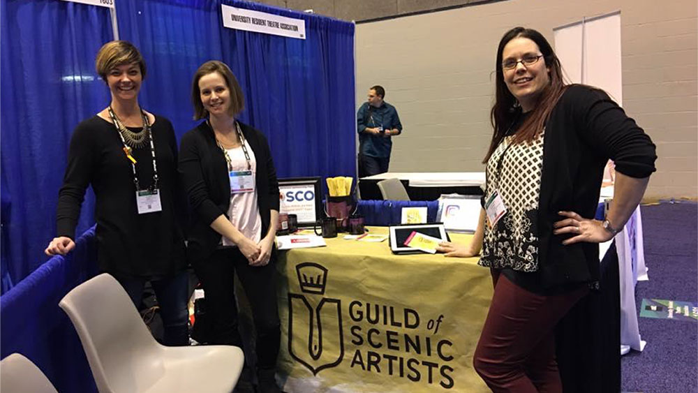 Guild founding members Valerie Light, Tina Yager, and Angelique Powers (not pictured: Lili Payne and Sara Herman) at USITT 2017.