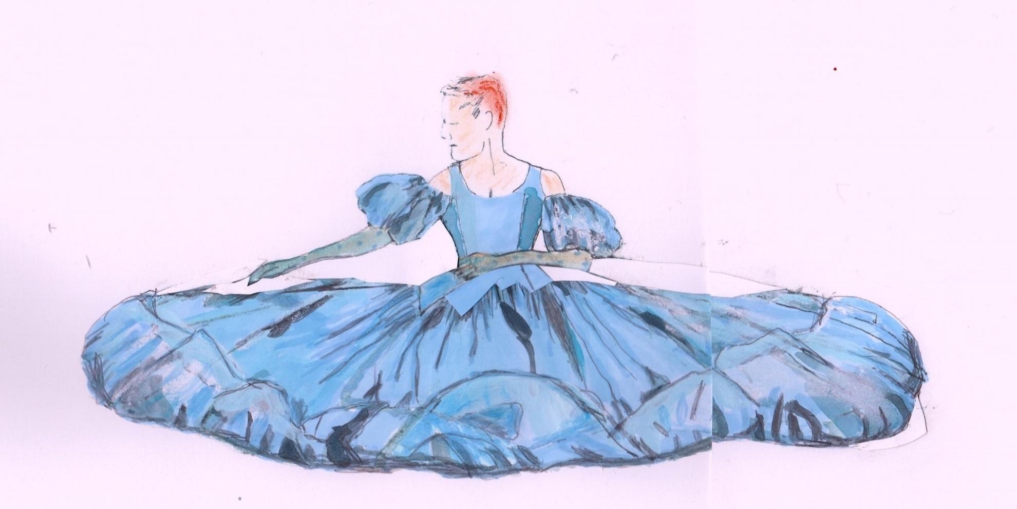 Costume sketch by  Sonya Berlovitz .