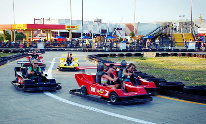 "GO KARTING - JUNIOR RACER TRACK: For the small kiddos 36-48"" and a minimum 3 years old for the kiddie karts.PRO TRACK- Race the road course like the pros! For the big kids or kid at heart. 54""+. NEW! 48""-54"" can race by themselves.RACERS TRACK- Hit the Racer Track on this challenging and fun road course. 54""+. NEW! 48""-54"" can race by themselves.The SUPERSPEEDWAY- Race on the Superspeedway Oval in 2-seater go karts. Drive by yourself or take a rider with you. Minimum 60"" tall. Must be 16 with a Drivers License to drive. Passengers 36"" or taller."