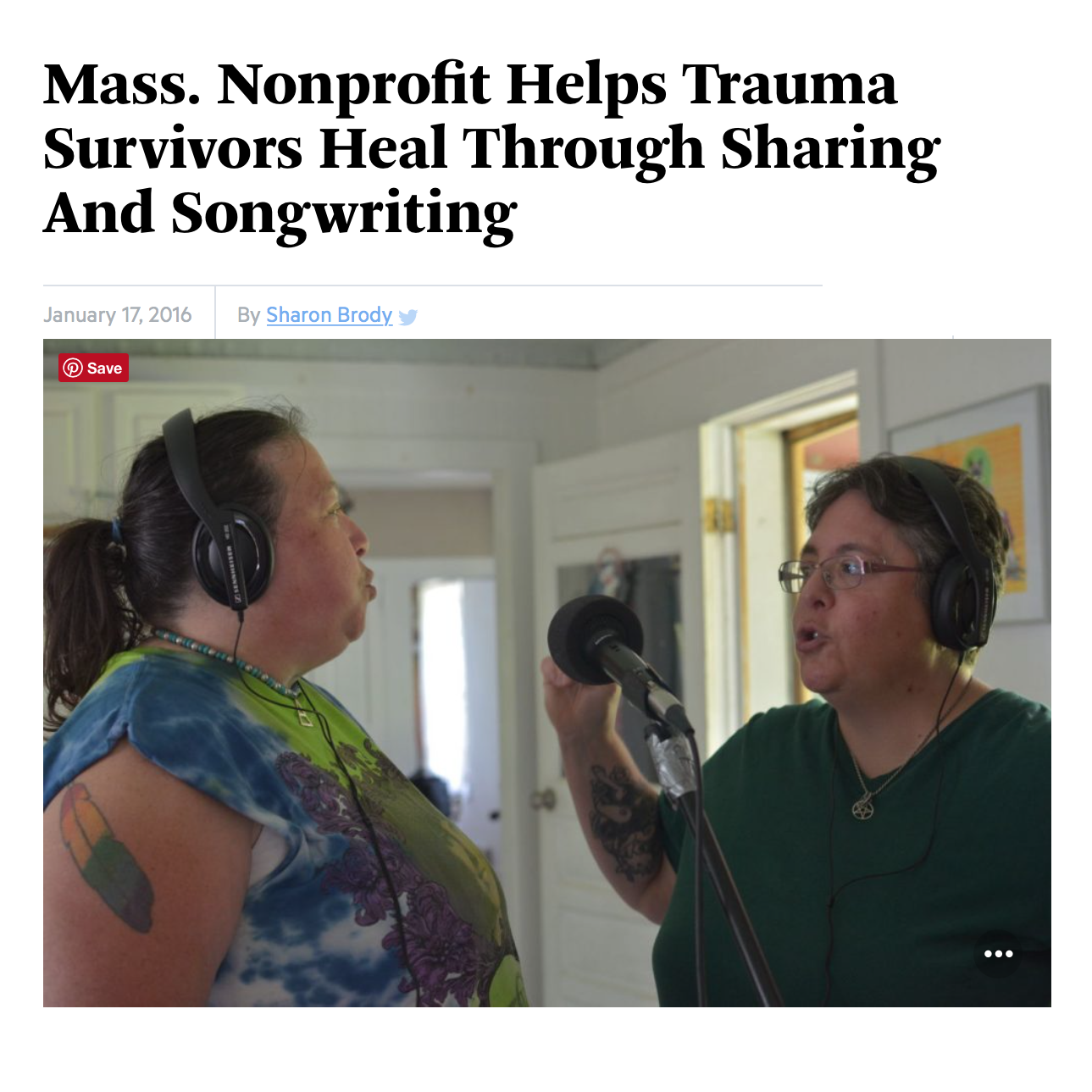 WBUR Interview with Sharon Brody