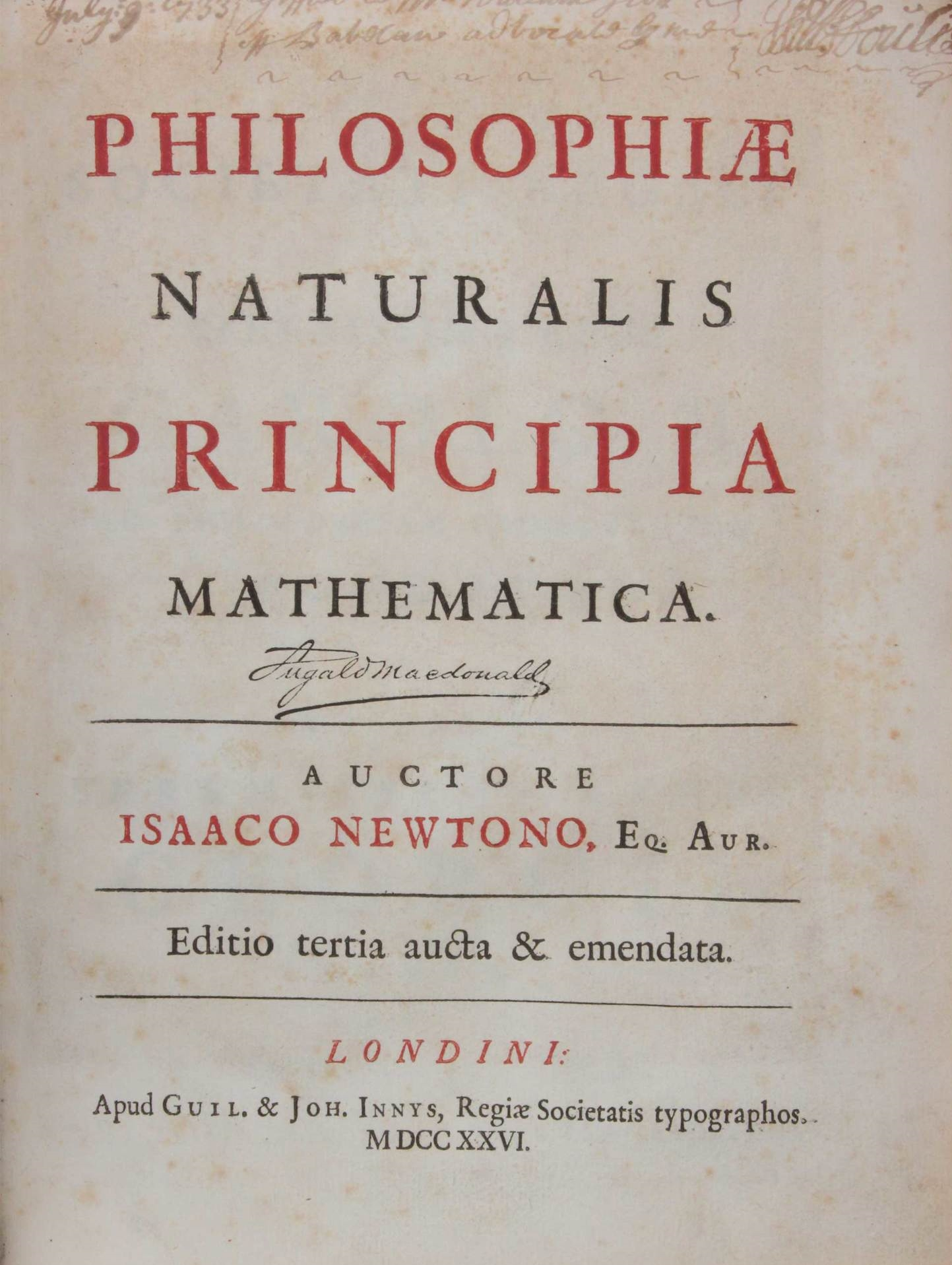 Isaac Newton's work in which he introduces the theory of universal gravitation. NoticePhilosophiæ Naturalis, or Natural Philosophy.