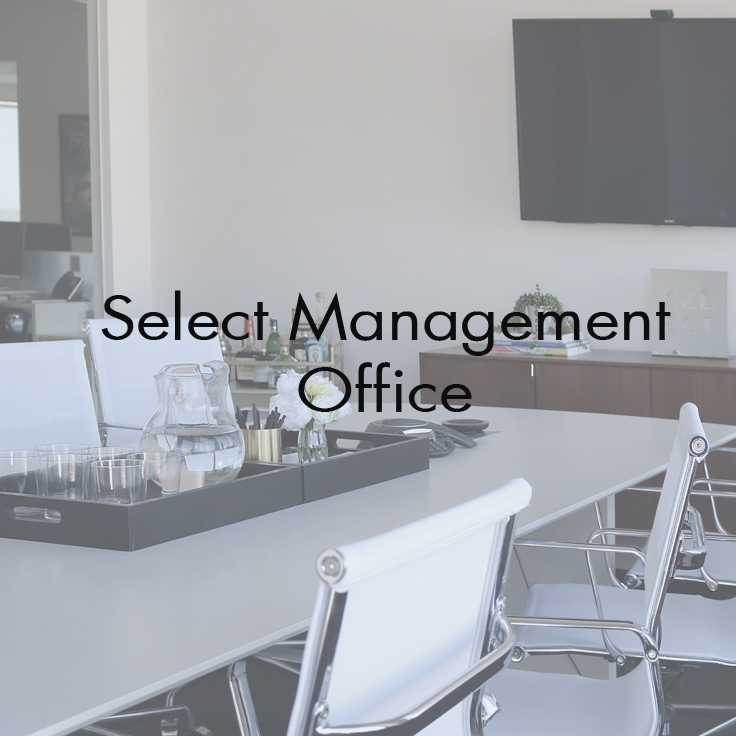 Select Management  West Hollywood, CA  Scope: Interior Design for all interior areas to include; lobby, offices, conference room, lounges, and common areas. Custom curation of furniture and artwork. Project management, purchasing, and styling.