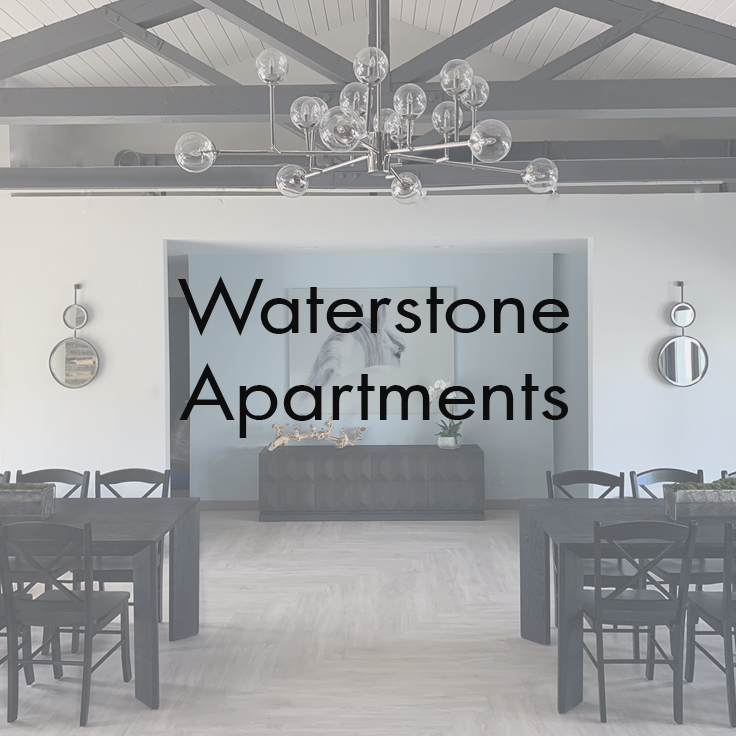 Waterstone Apartments   Chatsworth, CA   Scope :Interior renovations, design, and styling.  Spaces Include:  Lobby, Recreation Room lounge & Kitchen, & Gym.