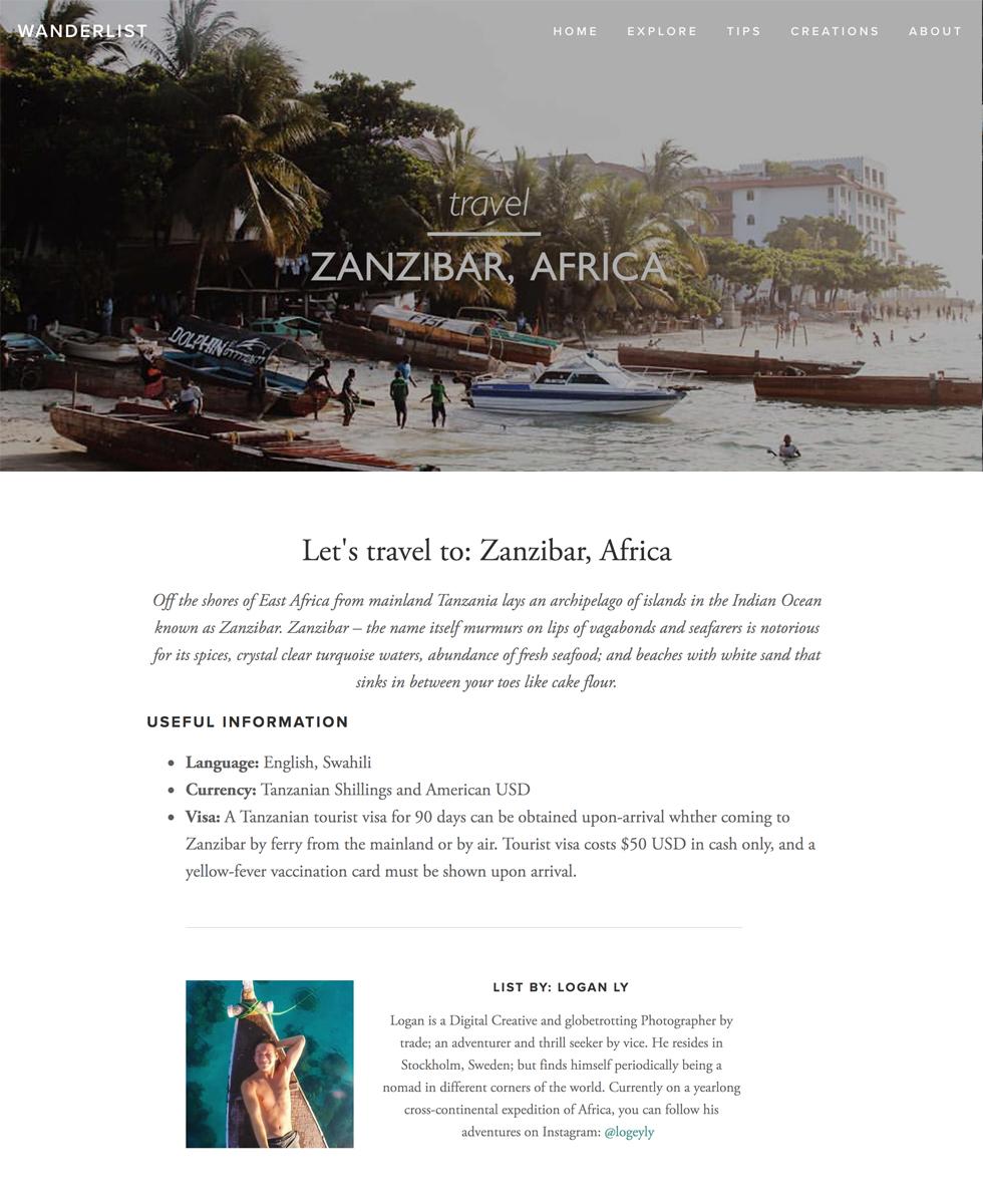 Wanderlist  - Let's Travel To: Zanzibar