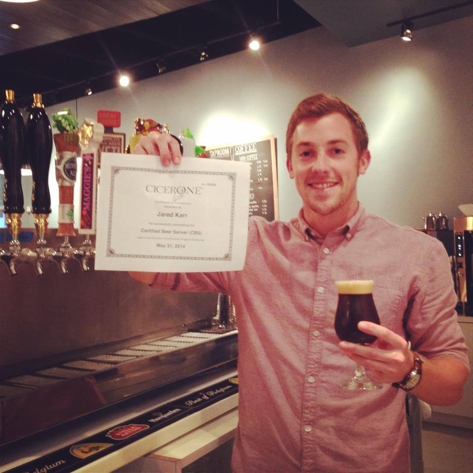 A baby-faced Jared, when he obtained his Cicerone Certified Beer Server certificate in 2014.