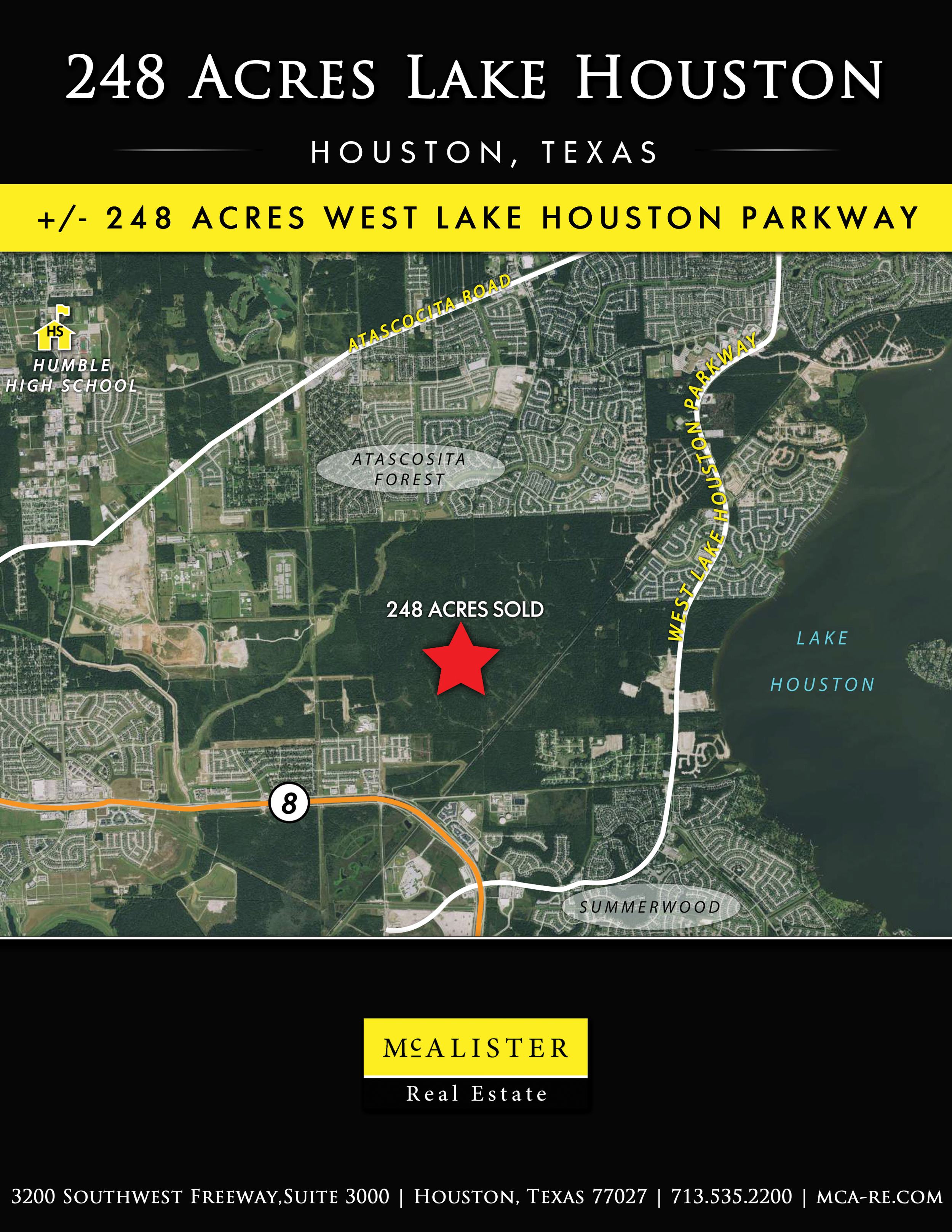 mcalister real estate west lake houston land tejas closing development