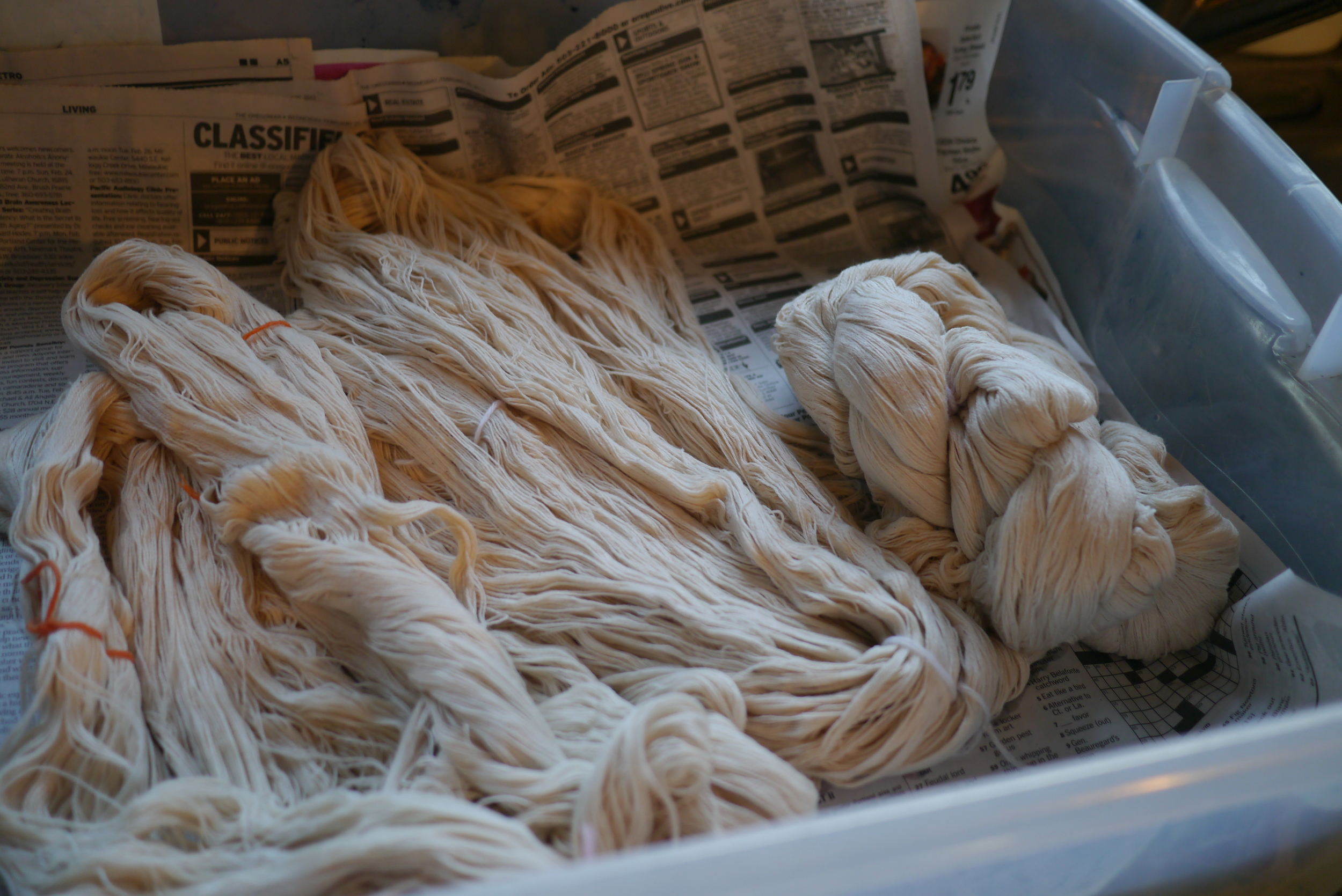 Yarn hanks soaked overnight, untwisted, and washed again in water.