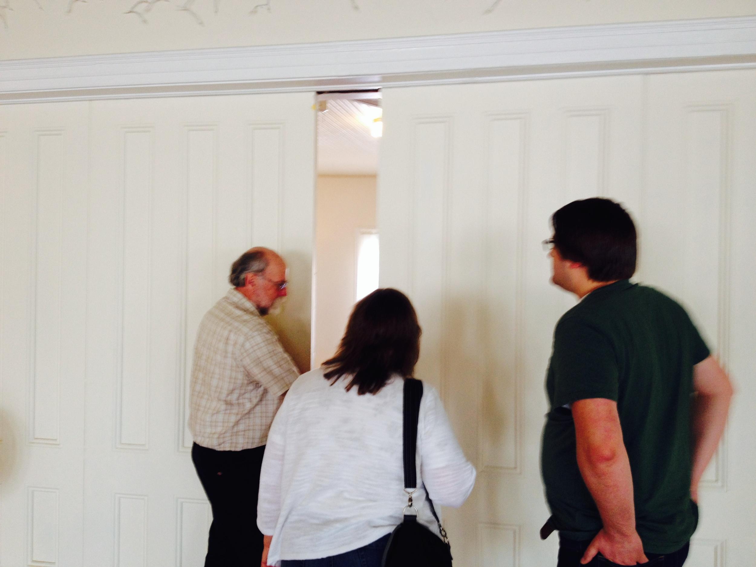door from ballroom to separate room for buffet/dj etc