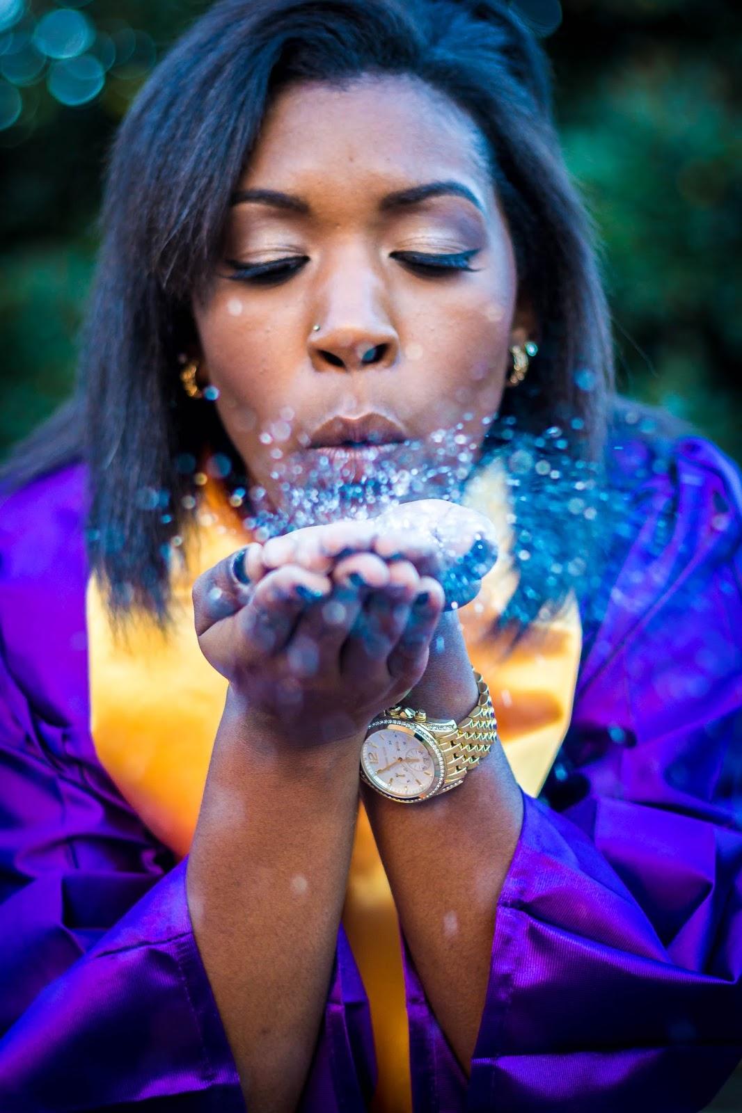 glitter senior photo