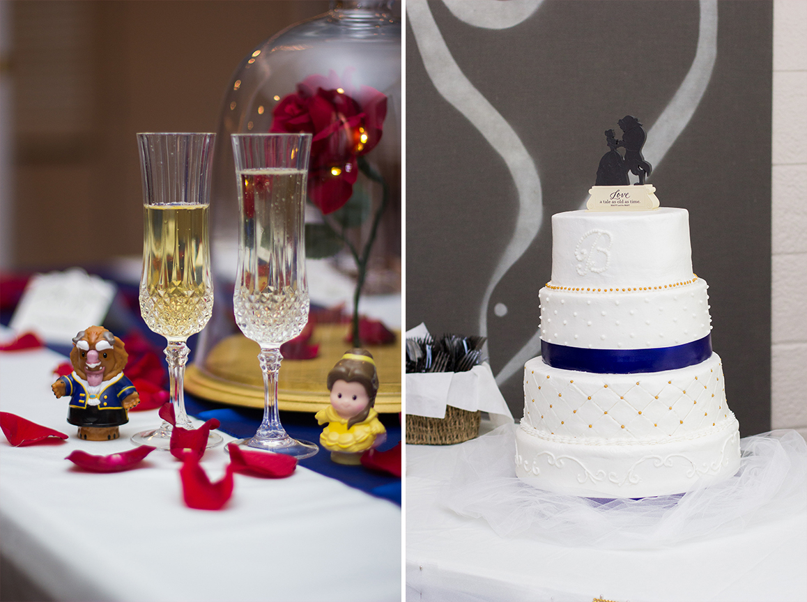 Beauty and the beast inspired wedding wine glasses and cake