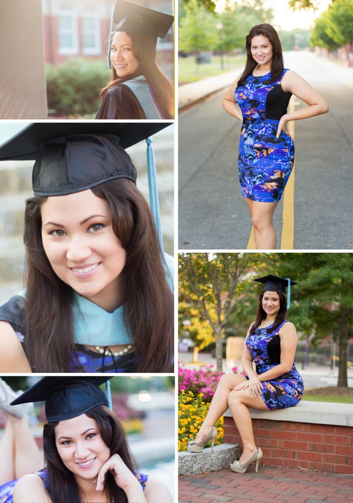 East Carolina University Senior Portraits | Greenville NC Photographer | Bryant Tyson Photography | Master's Degree | Cap and Gown Poses | Stephanie Harrison | www.memoriesbybryant.com
