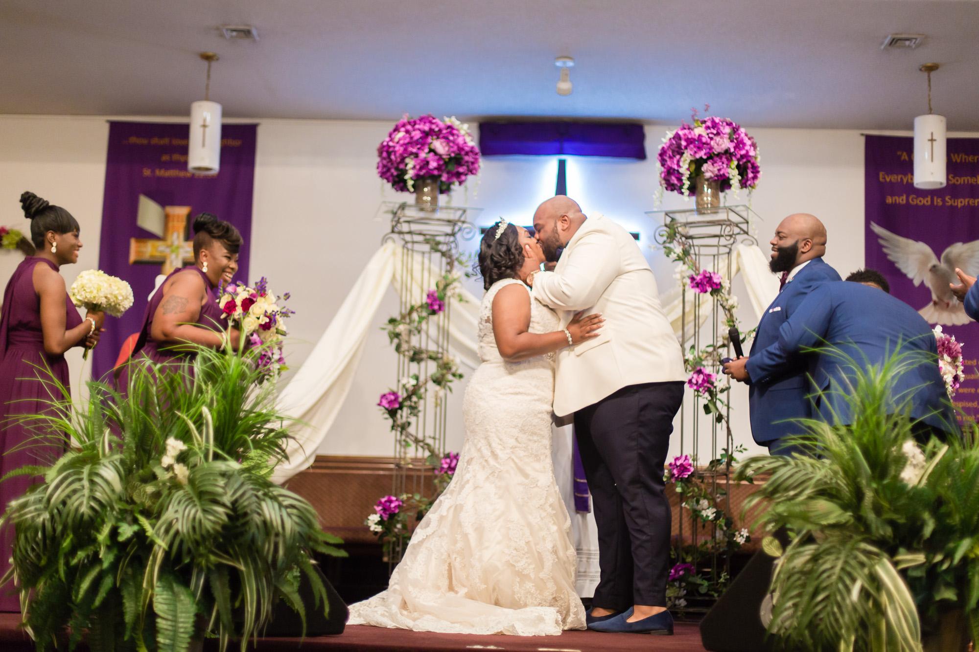 Kristin + Will   First Kiss   Mount Calvary Christian Center Wedding Ceremony  Greenville NC Wedding Photographer   Bryant Tyson Photography   www.memoriesbybryant.com
