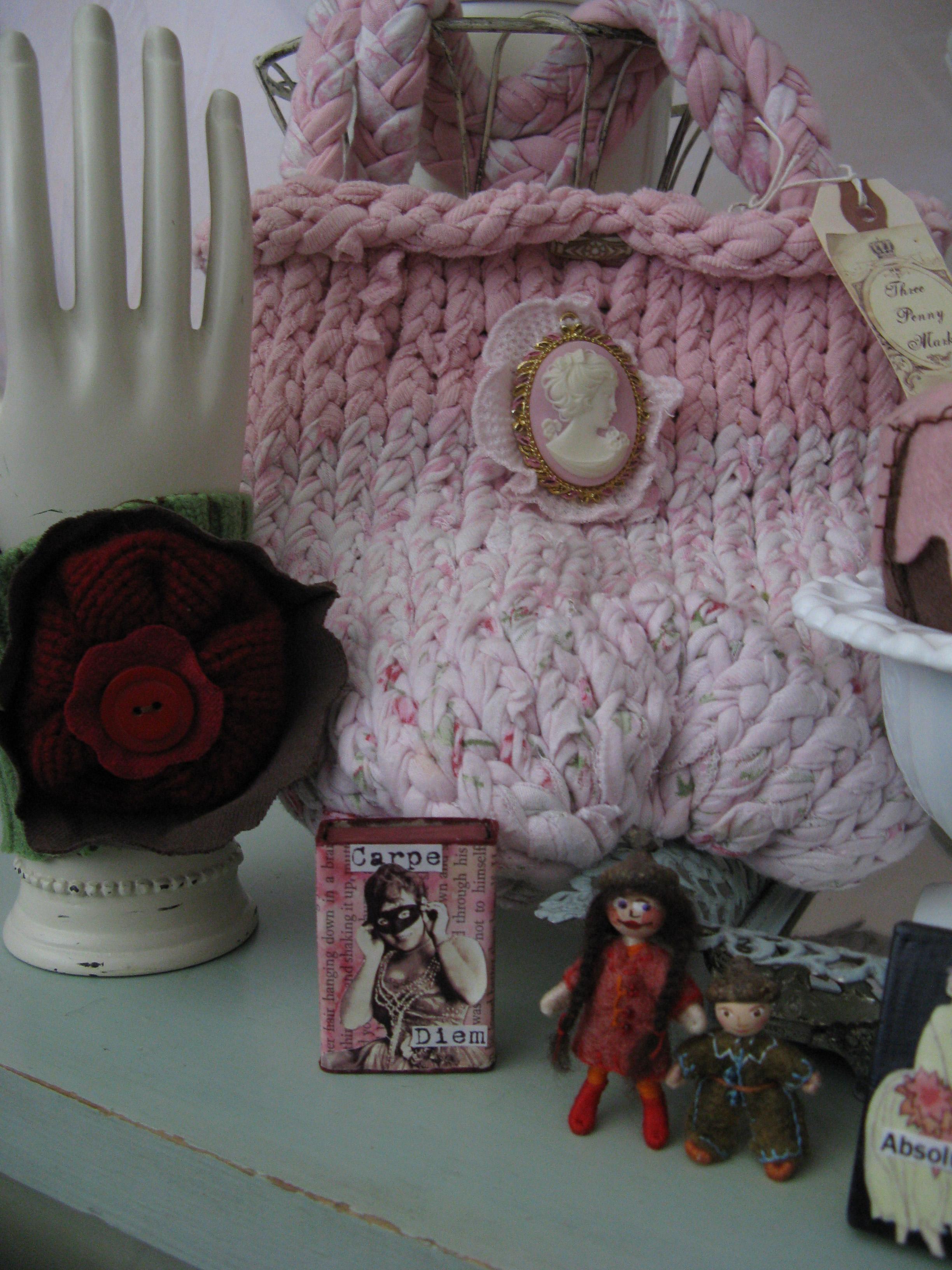 Cuff bracelet knit handbag shrine wee folk detail