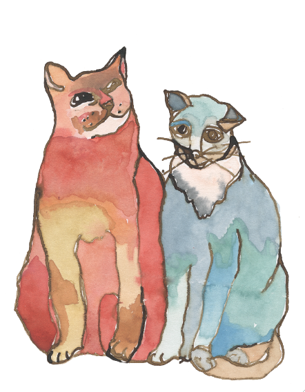 cats, watercolor print