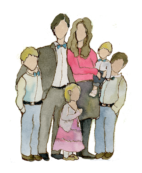 family portrait, watercolor