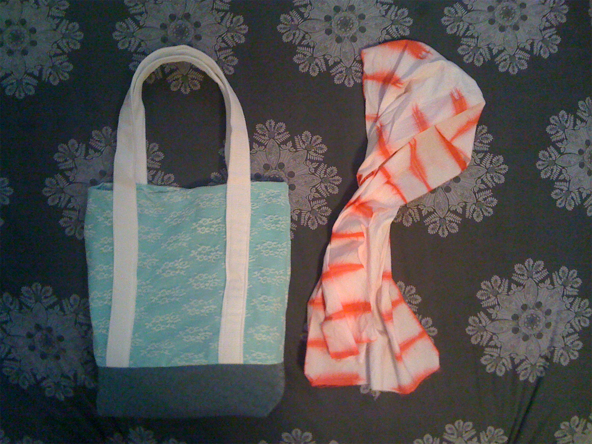 bag and hand dyed scarf