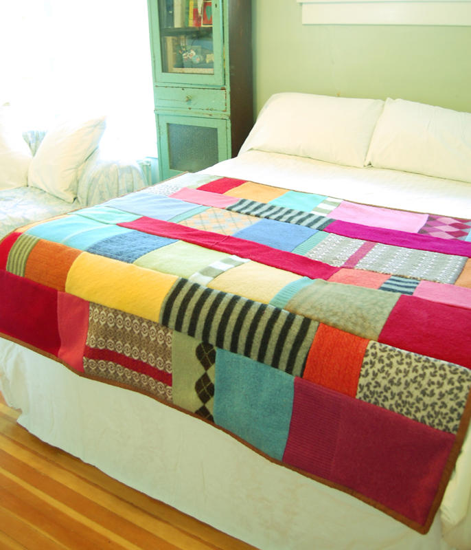 recycled sweater throw