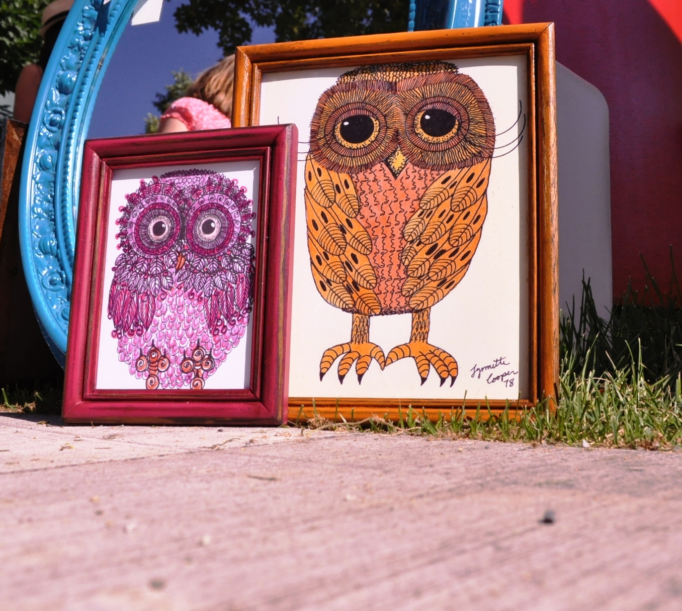 Pink and Orange Owls