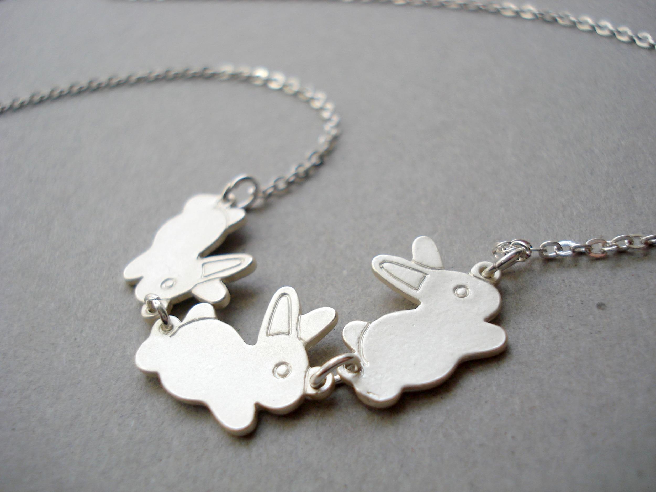 silver bunny necklace